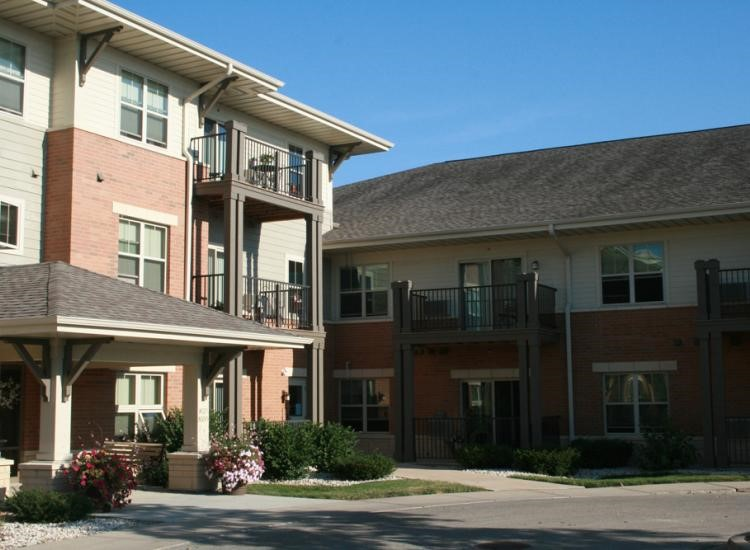 One feature to look for in retirement homes in Menomonee Falls, Wisconsin is private patios in select units.